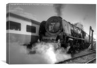 46233 Duchess Of Sutherland in black and white, Canvas Print