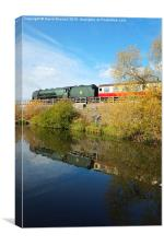 Steam Train Reflection at Butterley Reservoir , Canvas Print