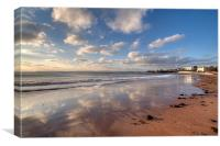 Reflections on Torre Abbey Sands Torquay, Canvas Print