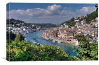 The River Looe viewed from Hannafore West Looe, Canvas Print