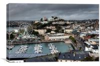 Looking down on Torquay Harbour and the Big Wheel, Canvas Print