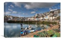 Colourful Brixham Harbour in the sunshine, Canvas Print