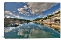 Cloud reflections on the River Looe, Canvas Print