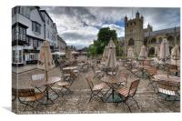 Early morning in Exeter Cathedral Yard , Canvas Print