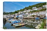 Colourful boats and houses at Polperro Harbour, Canvas Print