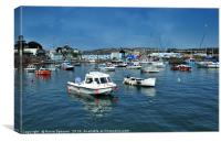 Sunny day at Paignton Harbour in Torbay, Canvas Print
