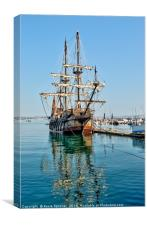 Galleon at Brixham Marina, Canvas Print