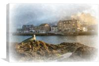 Nelson the Seal Sculpture by the Looe River, Canvas Print