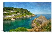 Looking down on Polperro and The Old Net Loft, Canvas Print