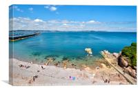 Turquoise sea at Breakwater Beach in Brixham Devon, Canvas Print