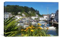 Summer view of Polperro in South East Cornwall, Canvas Print