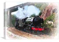 The Flying Scotsman passing Teignmouth Devon, Canvas Print