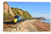 GWR train passing through Teignmouth from Dawlish, Canvas Print