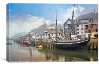 Lugger moored in Looe South East Cornwall, Canvas Print