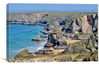 Bedruthan Steps on the North Cornwall Coast , Canvas Print
