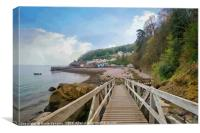 Approaching Babbacombe Beach in Torquay , Canvas Print