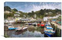 Colourful boats and houses at Polperro Harbour , Canvas Print