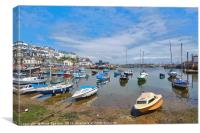 Low tide at Brixham Harbour in South Devon, Canvas Print