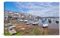 Brixham Harbour at low tide, Canvas Print