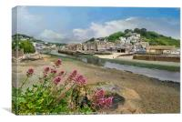 Very low tide on the River Looe in Cornwall, Canvas Print