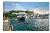 A fishing boat returns to Looe in Cornwall, Canvas Print
