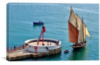 Looe Lugger passing the Banjo Pier , Canvas Print