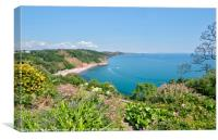Oddicombe Beach view from Babbacombe Downs Torquay, Canvas Print