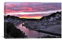 Looe at Sunset from Hannafore West Looe, Canvas Print