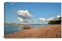 The Ferry approaching Shaldon Beach, Canvas Print