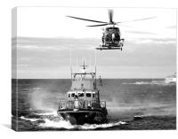 Torbay Lifeboat and Helicopter, Canvas Print