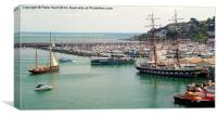A Busy Harbour In Devon, Canvas Print