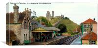 Corfe Castle and Railway Station, Canvas Print