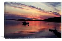 Boat In Sunset At Trondra, Shetland., Canvas Print