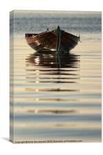 Small Boat Reflecting At Moorings, Canvas Print