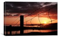 Fence In The Sunset at Uradale, Shetland., Canvas Print