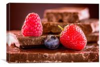 Berries on chocolate (reload), Canvas Print