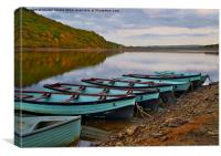 Rowing boats on the twilight lake, Canvas Print