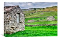 Yorkshire Dales Stone Barns at Muker, Canvas Print