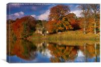 Autumn on the River Tyne at Hexham, Canvas Print