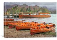 Derwentwater Canoes at Keswick, Canvas Print