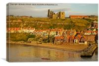 Whitby Abbey Church and Harbour, Canvas Print