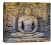 Stunning Rock Carving of Buddha, Canvas Print