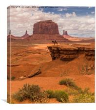 A Lone Horseman in Monument Valley, USA, Canvas Print