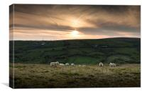 Brecon sunset wales, Canvas Print