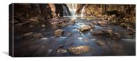River bed at Penllergaer falls Swansea, Canvas Print