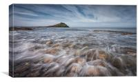 Worm's head on the Gower peninsular , Canvas Print