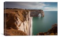 The cliffs and Manneporte arch at Etretat, Canvas Print
