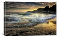 Dusk at Caswell Bay, Canvas Print
