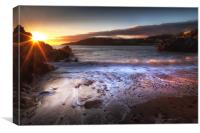 Sunset at Rotherslade Bay, Canvas Print
