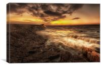 Porthcawl Sunrise with an oil painting effect on t, Canvas Print